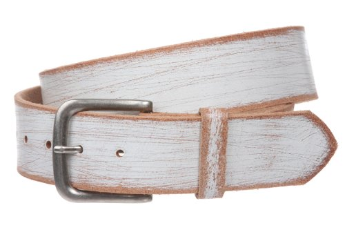 """1 3/4"""" (45 mm) Snap on Square Vintage Retro Distressed Solid Leather Belt - Interchangeable Square buckle Size: M - 36 Color: White"""