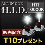 HID一体型 オールインワン 35W 安心1年保証 【H11 10000K】【販売記念品付】