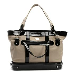 Nest Diaper Bag - Khaki Canvas With Black Patent Leather Trim