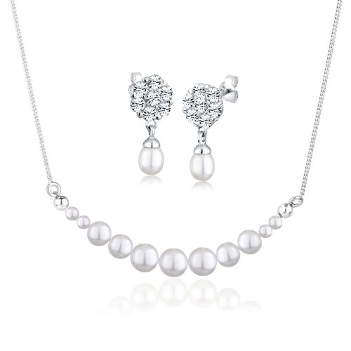 Perlu Brautschmuck 0904891913_45 High Lustre White 6.0 mm Semi-Baroque Freshwater Pearl 45.0 centimetres Sterling Silver 925 Jewellery Set