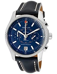Men's Breitling For Bentley Auto/Mech Chrono Peacock Blue Dial Platinum Bezel Blue Genuine Leather