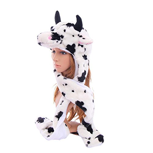 Cow_(US Seller)Animal Hat Winter Hat Fluffy Warm Cap Mittens Scarf (Old Glow Worm compare prices)