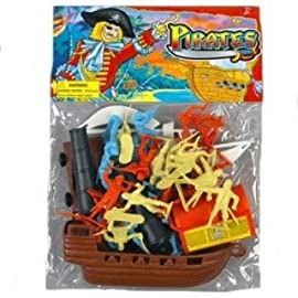Toy Pirate Ship Playset with 2 inch 1/35th 52mm Pirate Army Men, Cannon, and Treasure Chest!