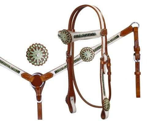 Hair Hide with Lime Crystal Conchos Headstall Bridle Reins Breast Collar Set