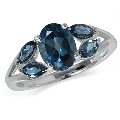 2.11ct. Genuine London Blue Topaz 925 Sterling Silver Cluster Cocktail Ring Size 6