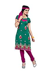 Shree Vardhman Synthetics Green Semi Cotton Top Straight Unstiched Salwar Suit Dress Material