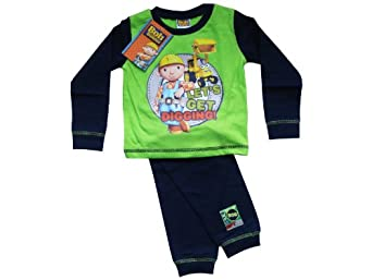 "Bob The Builder Boys Lime ""Let's Get Digging!"" Pyjamas - Official Merchandise - Size 3-4 Years, Colour Lime / Navy"