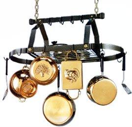 Cheap Blackhurst Black Classic Cambria Oval Pot Rack with Brass Grid (BD-H4750-BG)