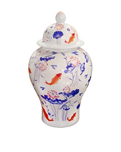 Ceramic Koi Fish Lidded Ginger Jar Vase, Orange/White
