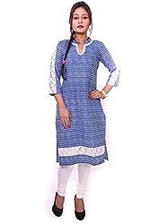 Indibelle women Blue Printed Cotton 3|4th Sleeve Kurti