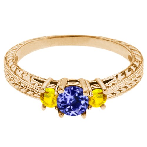 0.56 Ct Round Blue Tanzanite Yellow Sapphire 14K Yellow Gold 3-Stone Ring
