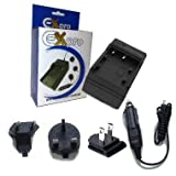 Ex-Pro Panasonic CGR-D08, CGRD08 Digital Camcorder Battery Travel Charger, UK, USA, Canada & Europe - 2 Hour Fast Charge - for Panasonic Camcorder NV-GS15, NV-GS15EB, NV-GX7, NV-GX7EG, NV-GX7K, NV-M10, NV-M20, NV-MD9000, NV-MX1, NV-MX2