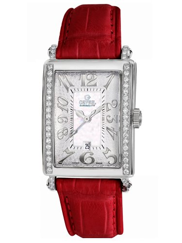 Gevril Women's 7249NE.4 White Mother-of-Pearl Genuine Alligator Strap Watch