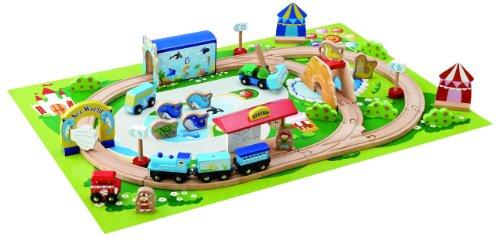 Holzeisenbahn Komplett Set inkl. Spielunterlage - 46 Teile