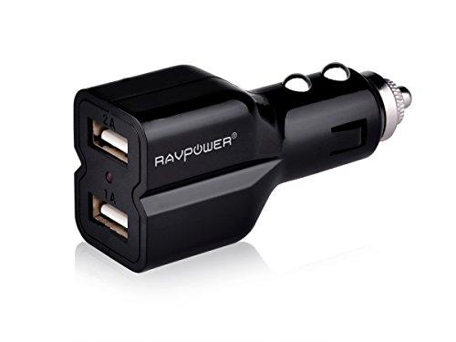 RAVPower 小型2USBポート付き車シガーソケットカーチャージャー(DC 5V 2.1A +1A)2台同時充電できる車載充電器1年間の安心保証iPhone6plus/6/5S/5C/5/4S/4・iPad4/3/2/1・iPad mini・iPod・各社Androidスマホ・GPS端末等スマートフォン,タブレット対応シガー充電アダプター(ブラック)RP-CC01