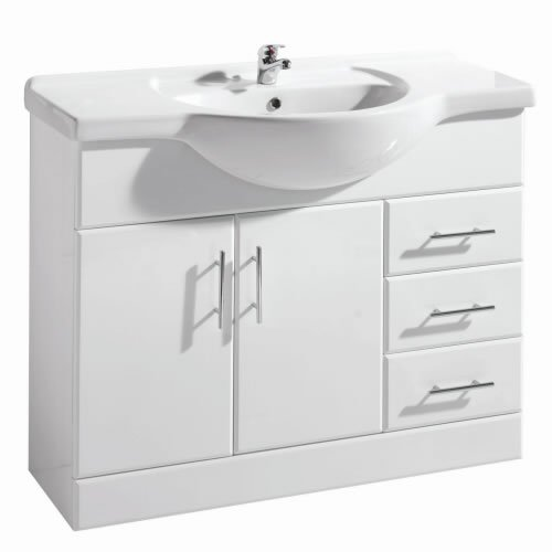 1050mm Rigid White Gloss Vanity Unit with Ceramic Basin, FREE Tap and Waste