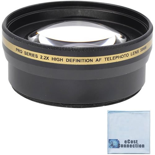 Pro Series 58Mm 2.2X High Definition Af Telephoto Lens + Microfiber Cloth For Nikon Af-S Nikkor 50Mm F/1.4G Autofocus Lens, Af-S Nikkor 50Mm F/1.8G, Af-S Nikkor 55-300Mm F/4.5-5.6G Ed Vr Zoom, Af-S Nikkor 55-300Mm F/4.5-5.6G Ed Vr Zoom