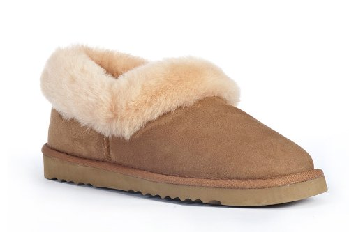 Cheap Sheep Touch Women's BALM Twin-Faced Australian Sheepskin Slippers Closed-Back Chestnut (B005PRA63O)