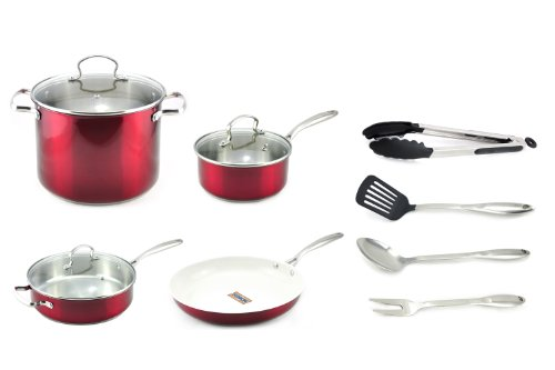 Kevin Dundon SKD11CWSRD 11-Piece Cookware Set, Red
