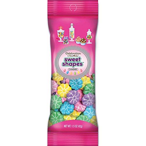Sweetworks Pastel Flowers Shapes Candies Peg Pouch, 1.5 oz, Multicolor