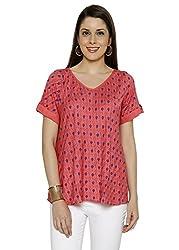 Funk For Hire Women Rayon Kit printed Bias Top (Peach, Size XL)