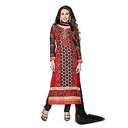 Parabdhani Fashion Women's Georgette Semi Stitched Suit (PBF_DM_43_Red_Free Size)