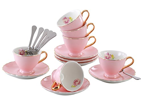 Jusalpha® Porcelain Coffee Bar Espresso Cups and Saucers Set, 3-Ounce FD-TCS02 (Set of 6, Pink) (3 Oz Espresso Cups And Saucers compare prices)