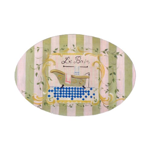 Le Bain Green Stripe Oval Plaque