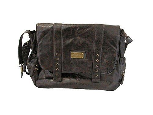 Wendy Bellissimo Crackle Brown Messenger Diaper Bag - 1