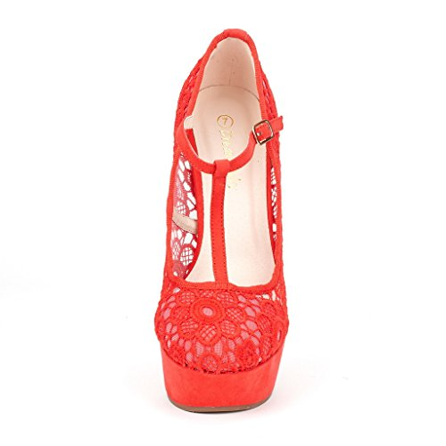 DREAM PAIRS HEIGHT-L Womens Crochet Lace Mary-Jane T-Strap Wedge Platform Pumps Shoes Red Size 8.5