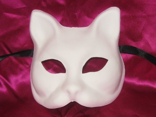 BLANK WHITE GATTO GREZZO VENETIAN MASK FOR DECORATING (Blank Mask Paper compare prices)