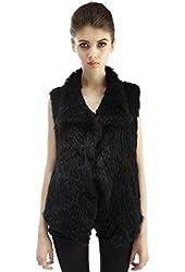 Michley Womens Real Rabbit Knitted Fur Vest Waistcoat Girls Winter Warm Outwear