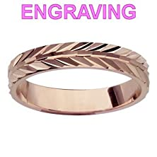 buy So Chic Jewels - Vermeil - Silver Gilt (Pink 18K Gold Over 950 Sterling Silver) - 4 Mm Diamond Cut Ribbon Ring - Size 7 - Your Message Engraved Free