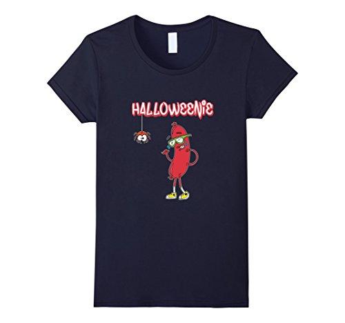 [Women's Halloweenie Funny Spider Hot Dog Weiner Cute Costume T-Shirt Medium Navy] (Funny Weiner Dog Costumes)