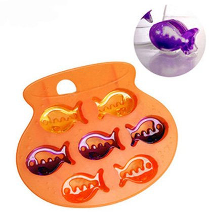 Jade Onlines 7-Cavity Adorable Cute Lovely Fish Shaped Ice/Cake/Chocolate/Sugar Decorating Silicone Mini Cube Craft Fondant Mold Tray(Send By Random Colour)