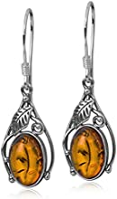 Sterling Silver Amber Classic Oval Dangle Earrings