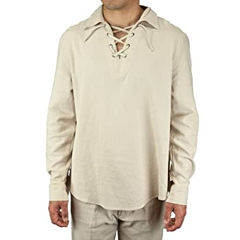 Cotton drawstring collar long sleeve beach shirt natural