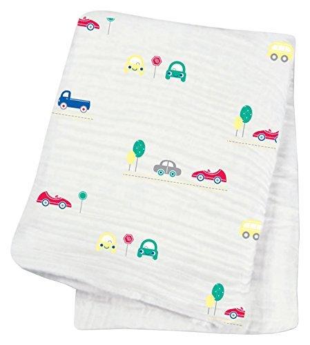"Lulujo Baby Muslin Cotton Swaddling Blanket, Vroom, 47"" x 47"""