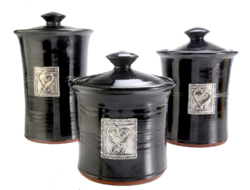 Crosby & Taylor Hearts Stoneware Canister Set, Blackberry Glaze