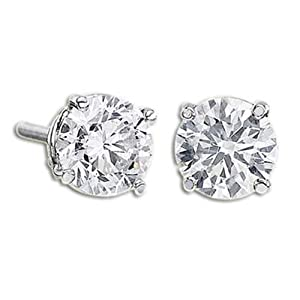 Huge 3 Carat Round Diamond Studs in White Gold