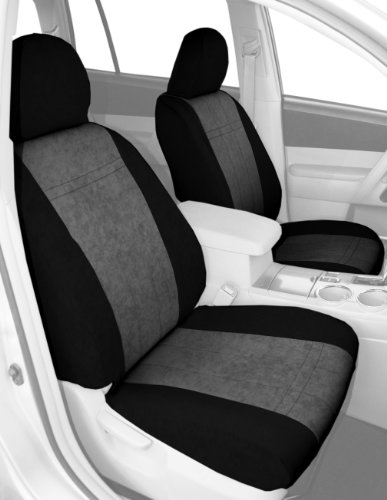 Caltrend Front Row Bucket Custom Fit Seat Cover For Select Nissan Frontier Models - Microsuede (Light Grey Insert With Black Trim) back-69393