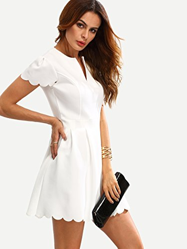 SheIn Women's Scalloped V Neck Pleated Skater Dress Large White