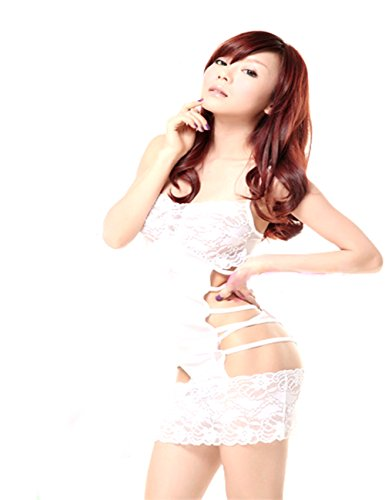 LYEP Sexy Dessous Weiß Sexy Spitze Nachthemd mit t-Hosen