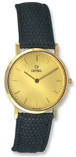 Gevril GV2 14k Solid Gold Mens Strap Watch G00550