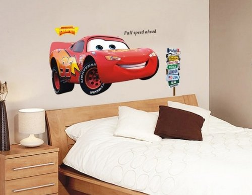 Clest F&H Free shipping mcqueen full speed red car ahead Decor Mural Decal Wall stickers for kid room
