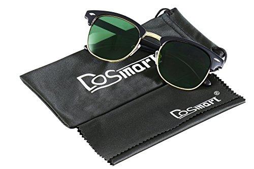 DoSmart Horn Rimmed Half Frame Fashion Polarized Colorful sunglasses (Matte Black, black) (Half Rimmed Sunglasses For Women compare prices)