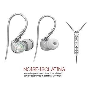 MEElectronics MEE-M6P2-BK - Auricolari interno orecchio con microfono, colore: trasparente