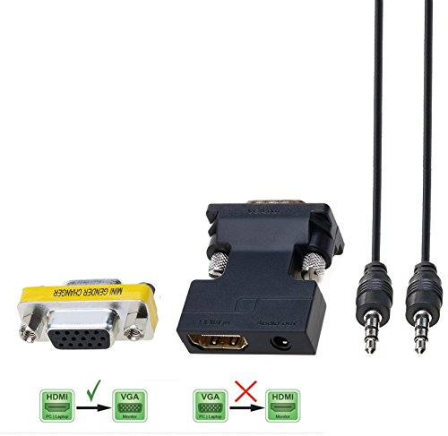 CableDeconn Active HDMI a VGA Adattatore Cavo Convertire da 3,5 mm Audio Femmina Maschio supporta Audio for per Google Chromecast--Specially