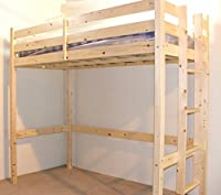 Loft Bunk Bed - 3ft single wooden high sleeper bunkbed - heavy duty use - CAN BE USED BY ADULTS - includes 20cm thick QUILTED sprung mattress