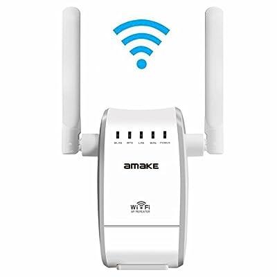 AMAKE Wifi Router Extender Amplifier Wireless Access Point / Wifi Long Range Wireless-N Mini AP Router Network Booster Dual External Antenna Complies IEEE802.11n/g/b with WPS